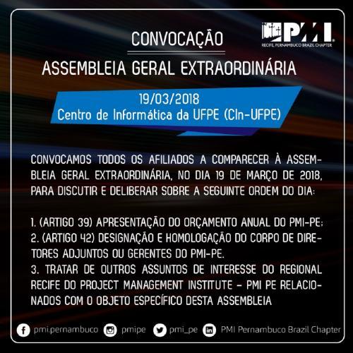 Convocação da ASSEMBLEIA GERAL EXTRAORDINÁRIA