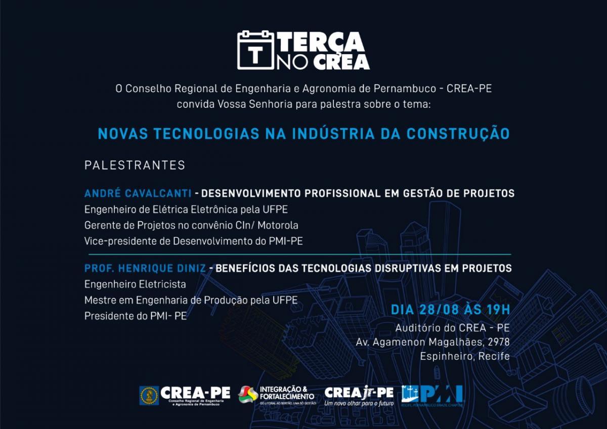 PMI-PE traz como tema as Novas Tecnologias na Indústria da Construção para o próximo Terça no CREA