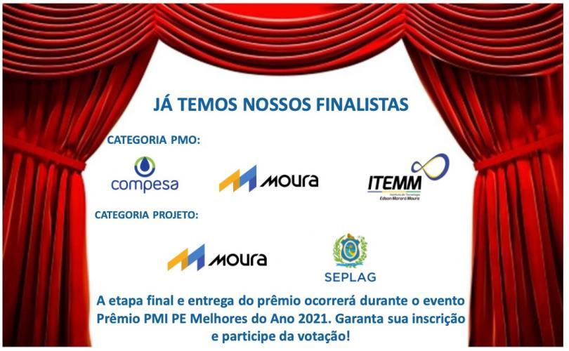 Relação dos Finalistas do Prêmio PMI-PE Melhores do Ano 2021