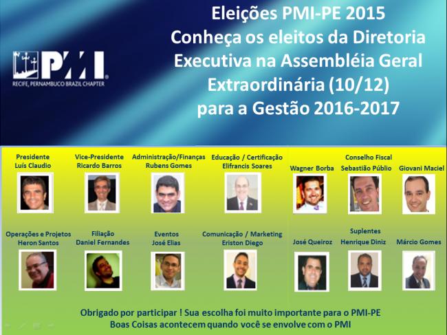 Conheça a nova diretoria executiva do PMI-PE escolhida nas Eleições 2015 do PMI-PE