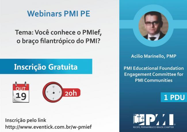 Webinar - Você conhece o PMIef, o braço filantrópico do PMI?